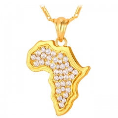 African Map Jewellery Necklaces & Pendants 18k Gold/Platinum Plated Africa Animal Accessories gold plated one size