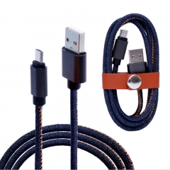 2m 2A Jean Cloth Fast Charging Data USB Cable For Android Phones