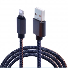 1m 2A Jean Cloth Fast Charging Data USB Cable For Iphones