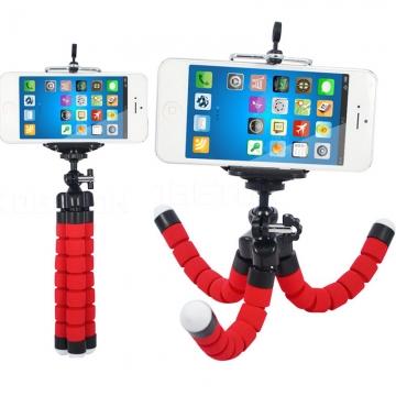 Flexible Camera Phone Holder- Octopus Tripod Bracket Stand Mount Monopod red mini portable