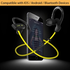 Bluetooth Sports Earphone-Running Wireless Headset V4.1 Stereo Bass with Microphone yellow portable