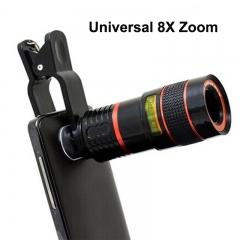 Universal Clip 8X Zoom Mobile Phone Telescope Lens-Telephoto External Smartphone Camera Lens black portable newest