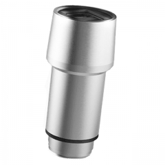 Stainless steel universal dual USB port car charger with safety hammer function Silver 58H*23W mm