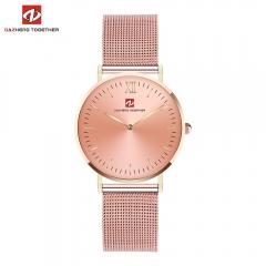 DZ luxe mode horloge mannen ultra dunne goud Staal Mesh Liefhebbers Horloge uomo white