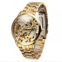 WINNER Men's Watch Auto-Mechanical Steel Band  Watch golden