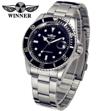 WINNER Men's Classic Mechanica Steel Band  Watch black