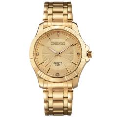 Golden Fashion Men Watch Stainless Steel Quartz Wrist golden