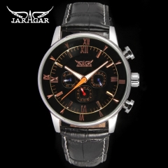 Jargar  Automatic dress wristwatch silver color with black leather steel band for men hot black