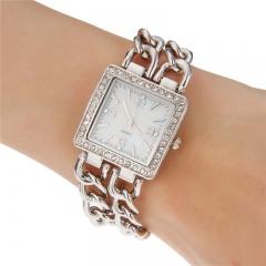 Women's Dress Style Steel Band Quartz Wrist Watch (Assorted Colors) silver