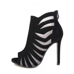 Black cashmere fight net high-heeled sandals FD767-8 black 35