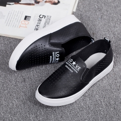 Summer superfiber leather soft hollow small white shoes D80 black 35