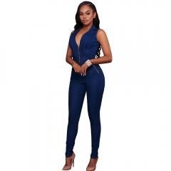 TopFashion Sexy Ladies Elegance Deep V blue Sleeveless jean Dress blue S