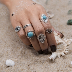 Retro carved inlaid turquoise bohemian wind exaggerated style six - piece ring ancient silver free size