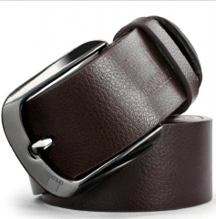 Brand Metal Alloy Pin Buckle Belts PU Leather Business Belt for Men Fashion Waistband brown