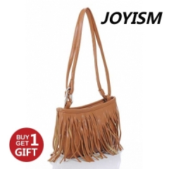 Joyism Retro Engraving and Tassel Design Women Shoulder Bag. Crossbody Bags brown f