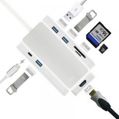 USB C hub, USB-C digital AV multi-port adapter, charging type-c card reader 4K HD silver 2m 7