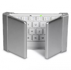 Folding Bluetooth Keyboard Mobile Phone Flat Universal Keyboard With Three Keyboard Silver