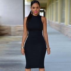 new sleeveless sexy women knee-length dress black m