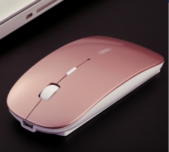 Rechargeable Battery USB Wireless Mouse Mute Silent Click Mini Noiseless Optical Mice rose gold #01