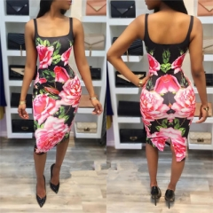 2017 Summer Floral Printed Dresses Women Sexy  Chiffon Beach Sleeveless Backless Strap Dress mix color s