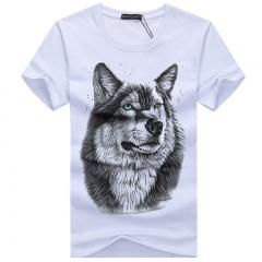 cotton 3d t shirt men 2016 summer new arrvial 3D funny wolf man's T-shirt extended plus size 4XL white M