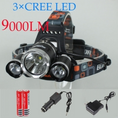 Waterproof 9000Lm LED Headlamp with 4 Mode-Hands Free Headlight Flashlight Torch   Outdoor Sports black one size
