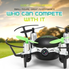 Mini RC Drone 2.4GHz 4CH 6 Axis Gyro RC Quadcopter Headless Mode Flying with 2.0MP HD Camera Gifts black H30CH