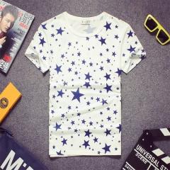 Men summer star printed short sleeve t-shirt shirt white s