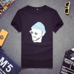 Men summer printed short sleeve t-shirt shirt black s