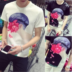 Men summer men printed short sleeve t-shirt shirt white xxl