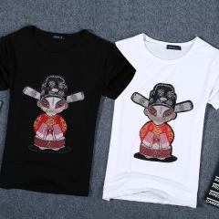 Men summer god of wealth printed short sleeve t-shirt shirt white s