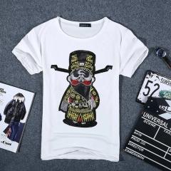Men summer printed short sleeve t-shirt shirt white s