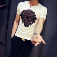 Men summer lion printed short sleeve t-shirt shirt white s