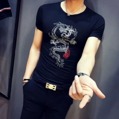 Men summer dragon printed short sleeve t-shirt shirt black s