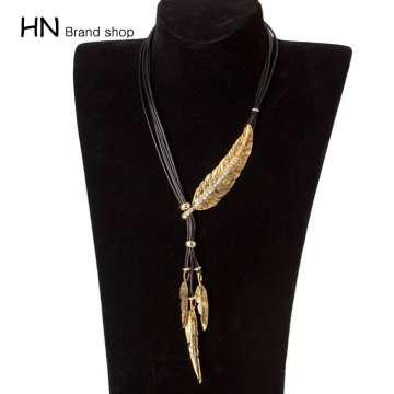 Hn brand black diamond rope multi leaves feathers necklace women hn brand black diamond rope multi leaves feathers necklace women jewellery gold black diamond aloadofball Images