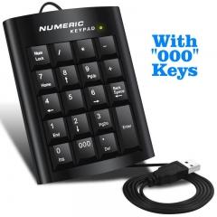 Black Office Computer USB 19 keys Numeric Number Keypad Keyboard For Laptop black one size