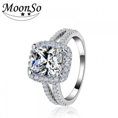 Moonso Fashion 925 Sterling Silver Ring Engagement Finger Women Wedding Jewelry R1507 white 10#