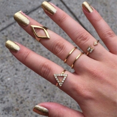 5pcs/set Gold Plated Rhinestone Decoration Rings Jewellery gold color one size