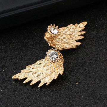 Angel Wings Rhinestone Inlaid Alloy Ear Studs Earrings Jewellery gold color one size