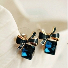 Fashion Square Bow Imitation Quartz Earrings Jewellery blue one size