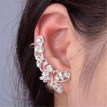 Fashion Unilateral Butterfly Imitated Diamond Earrings Jewellery silver color one size