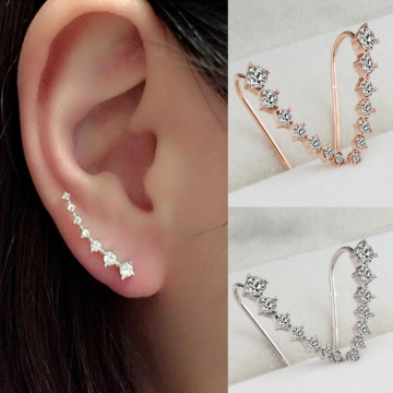Long section of Rhinestone earrings Jewellery gold color one size