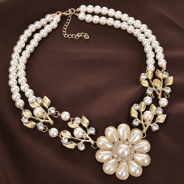 Party Dazzle  Beads Chain Romantic Choker Necklace Simulated Pearl Necklace Fashion Jewelry gold color one size