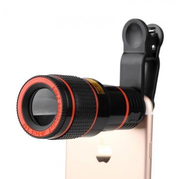 Universal 8X Optical Zoom Telescope Camera Lens Clip Mobile Phone Telescope Black 8X 8X
