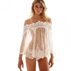 Usexy Exotic Nightwear Women Sexy Lingerie Costumes Dress White Lace Babydoll Dress + Underwear white f