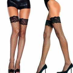 Usexy Sexy  Lace Fishnet Thigh High Stockings Pantyhose Hollow Out Mesh Stockings Female black f