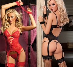 Usexy Seductive Lace Sex Nude Teddy Lingeries Teddy With Handcuff  Women Lingerie Tenue Sexy Erotic black f