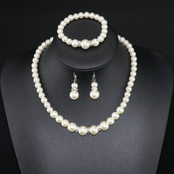 Jewelry Suit 4PCS Imitation Pearl Lady Necklace bracelet earrings Silver silver
