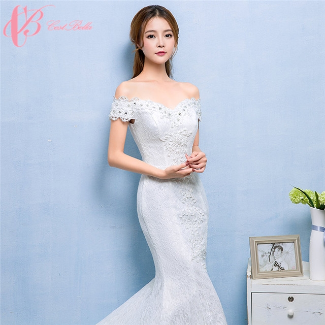 Cheap Trumpet Pure White Wedding Dresses Made in China Cestbella ...