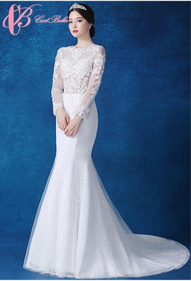 Illuminated 34 Long Sleeves Lace Patterns Suzhou Wedding Dress Mermaid Cestbella Pure White 14
